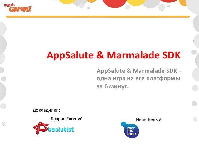 AppSalute & Marmalade SDK                                   AppSalute & Marmalade SDK –               ...