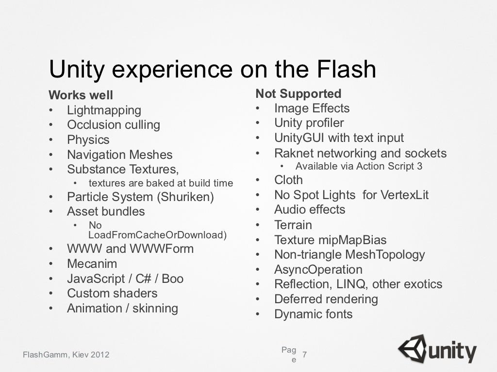 Unity: Unity Flash – ключ к созданию Flash 3D
