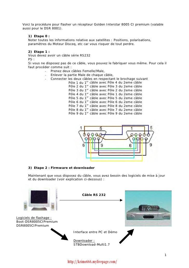 Voici la procédure pour flasher un récepteur Golden Interstar 8005 CI premium (valable   aussi pour le DSR 8001).      1) ...