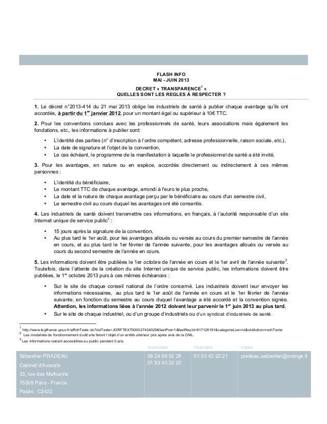 TELEPHONE  TELECOPIE  E.MAIL Sébastien PRADEAUCabinet d'Avocats33, rue des Mathurins75008 Paris - FrancePala...