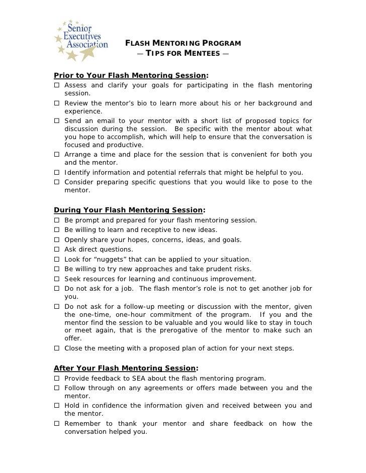 Flash Mentoring Tips For Mentees