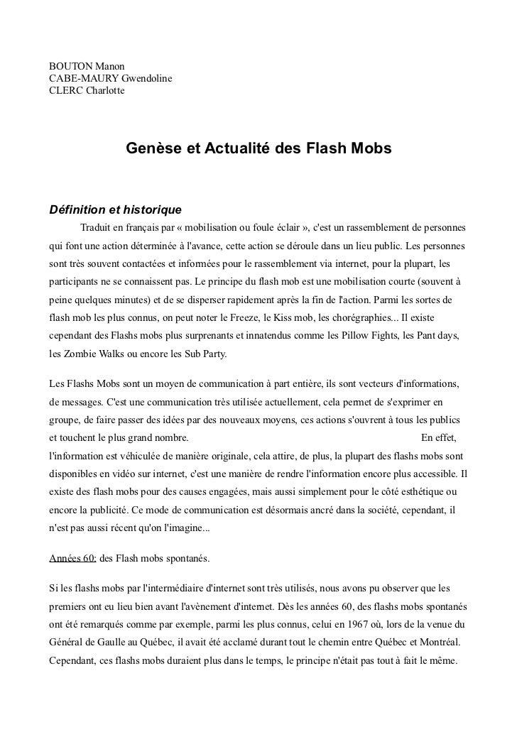 BOUTON ManonCABE-MAURY GwendolineCLERC Charlotte                   Genèse et Actualité des Flash MobsDéfinition et histori...