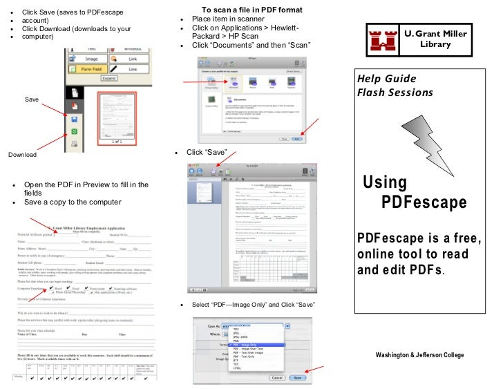     Click Save (saves to PDFescape                       To scan a file in PDF format    account)                       ...