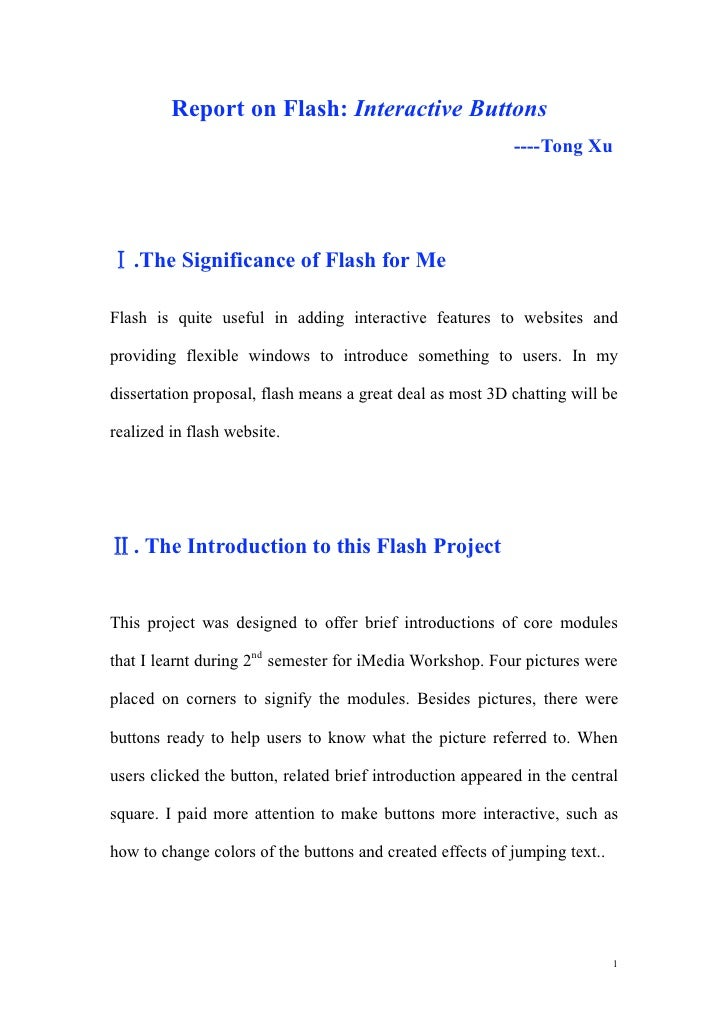Report on Flash: Interactive Buttons                                                             ----Tong Xu        .The S...
