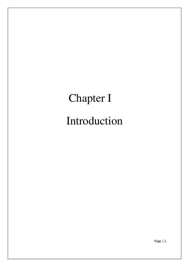 Page | 1 Chapter I Introduction