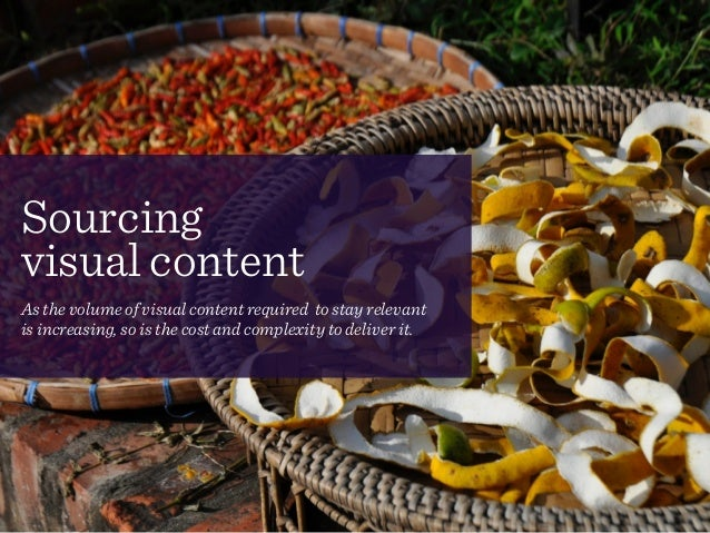 Sourcing  visual content! As the volume of visual content required to stay relevant  is increasing, so is the cost and c...