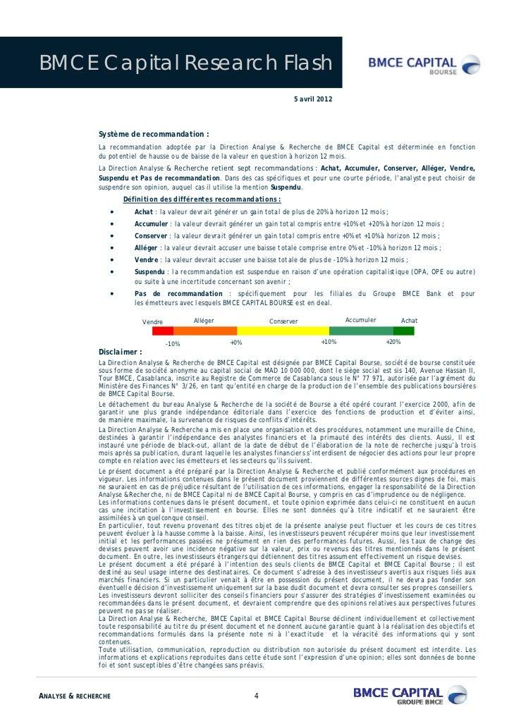 BMCE Capital Research Flash                                                                              5 avril 2012     ...