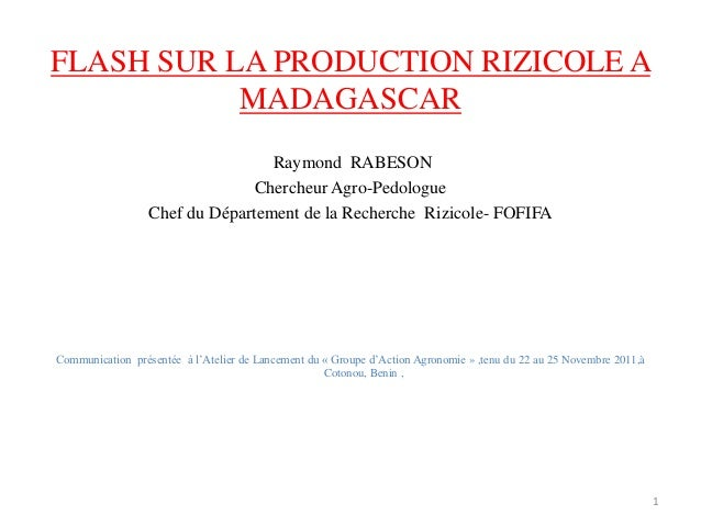 FLASH SUR LA PRODUCTION RIZICOLE A           MADAGASCAR                                  Raymond RABESON                  ...