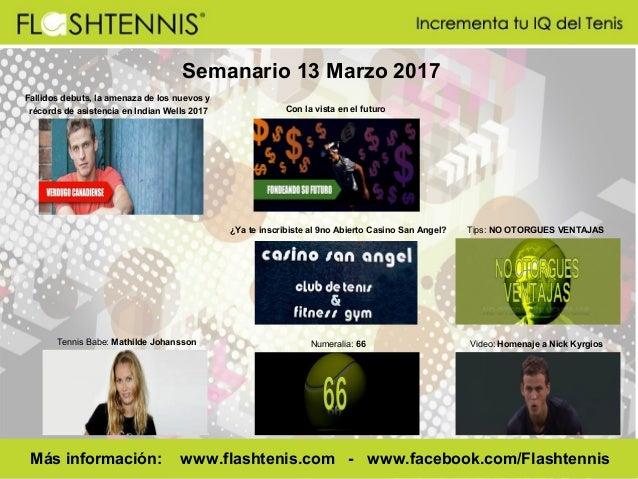 Semanario 13 Marzo 2017 Numeralia: 66 Más información: www.flashtenis.com - www.facebook.com/Flashtennis Tennis Babe: Math...