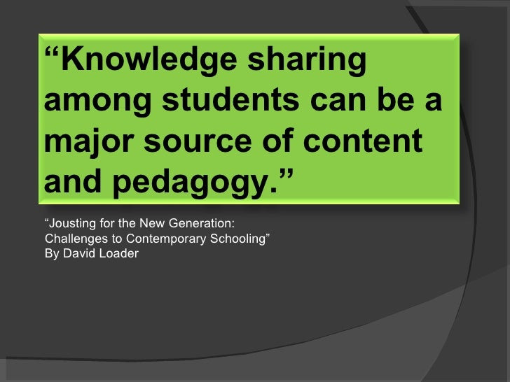 """"""" Jousting for the New Generation: Challenges to Contemporary Schooling"""" By David Loader """" Knowledge sharing among student..."""