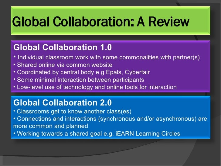 Global Collaboration: A Review <ul><li>Global Collaboration 1.0  </li></ul><ul><li>Individual classroom work with some com...
