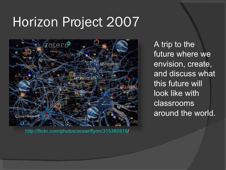 Horizon Project 2007 <ul><li>A trip to the future where we envision, create, and discuss what this future will look like w...