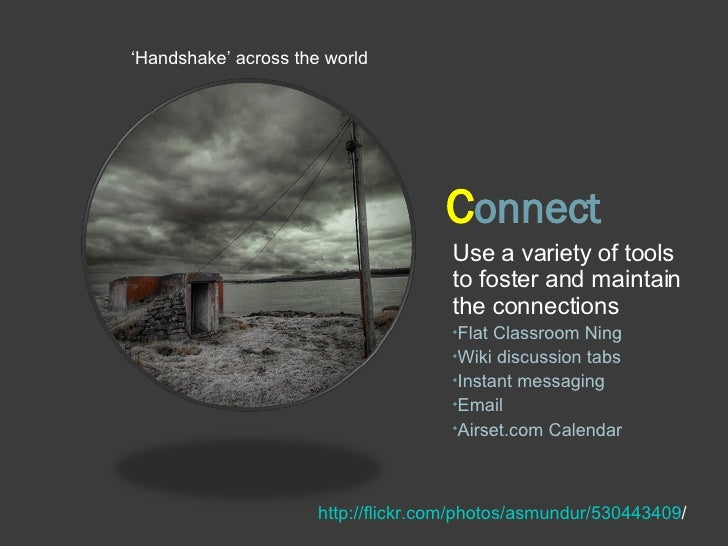 C onnect <ul><li>' Handshake' across the world </li></ul>http://flickr.com/photos/asmundur/530443409 / <ul><li>Use a varie...