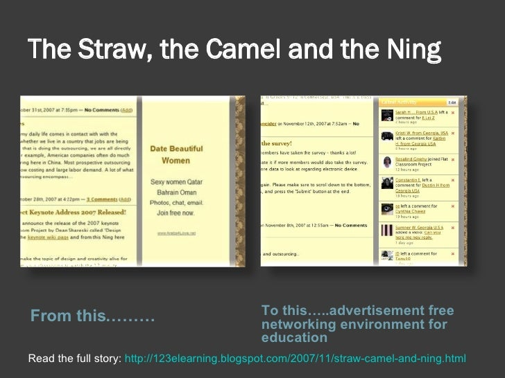 The Straw, the Camel and the Ning <ul><li>From this……… </li></ul><ul><li>To this…..advertisement free networking environme...