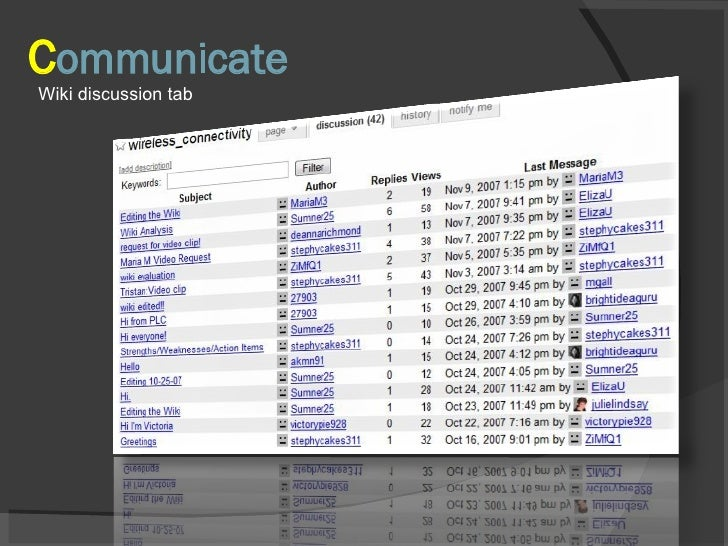 C ommunicate Wiki discussion tab