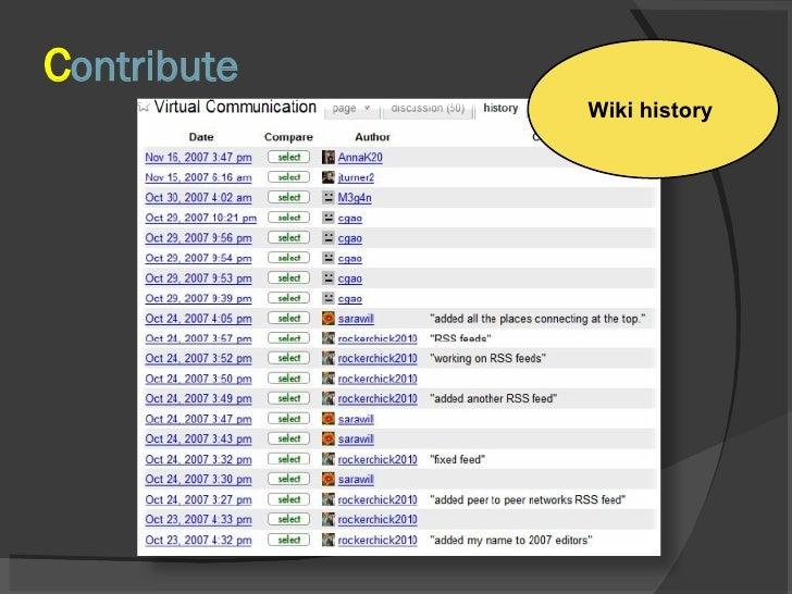 C ontribute Wiki history