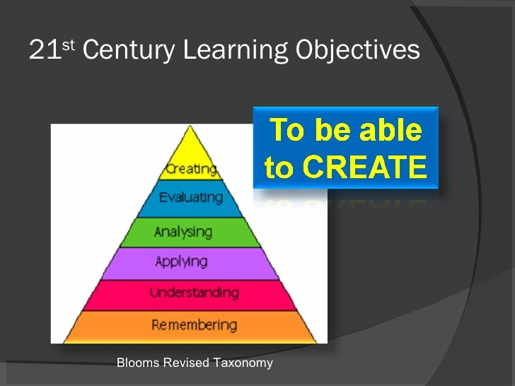 21 st  Century Learning Objectives Blooms Revised Taxonomy