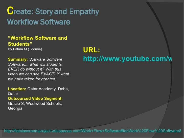 """C reate: Story and Empathy Workflow Software """" Workflow Software and Students"""" By Fatma M (Toomie) Summary:  Software Soft..."""