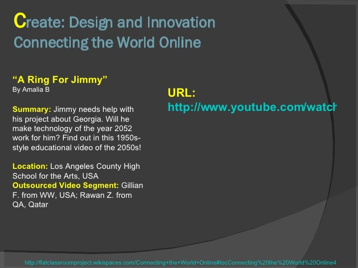"""C reate: Design and Innovation Connecting the World Online """" A Ring For Jimmy"""" By Amalia B Summary:  Jimmy needs help with..."""