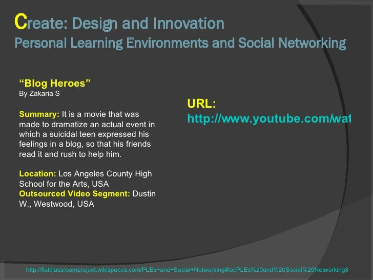 C reate: Design and Innovation Personal Learning Environments and Social Networking http://flatclassroomproject.wikispaces...