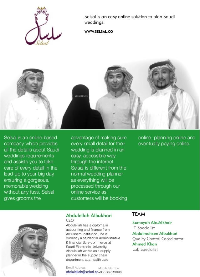 Selsal is an easy online solution to plan Saudi weddings. WWW.SELSAL.CO Selsal is an online-based company which provides a...