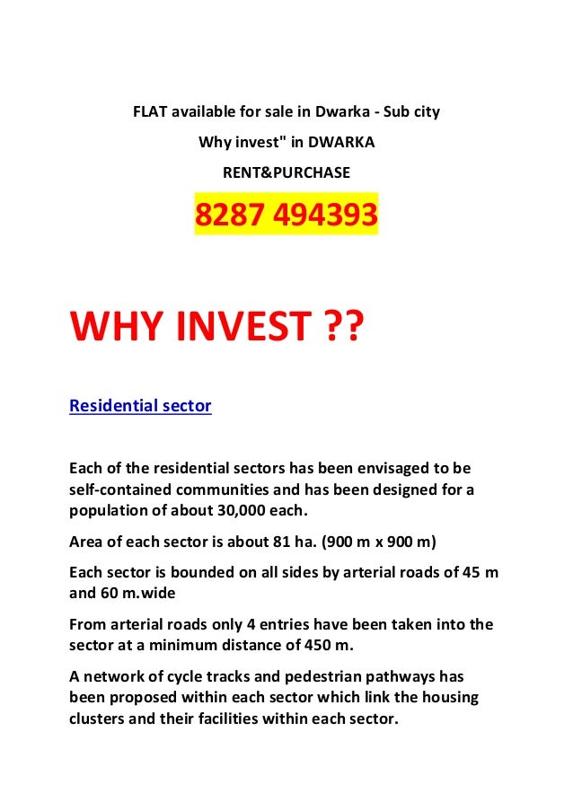 """FLAT available for sale in Dwarka - Sub city                  Why invest"""" in DWARKA                     RENT&PURCHASE     ..."""