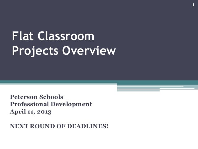 Flat Classroom Projects Overview Peterson Schools Professional Development April 11, 2013 NEXT ROUND OF DEADLINES! 1