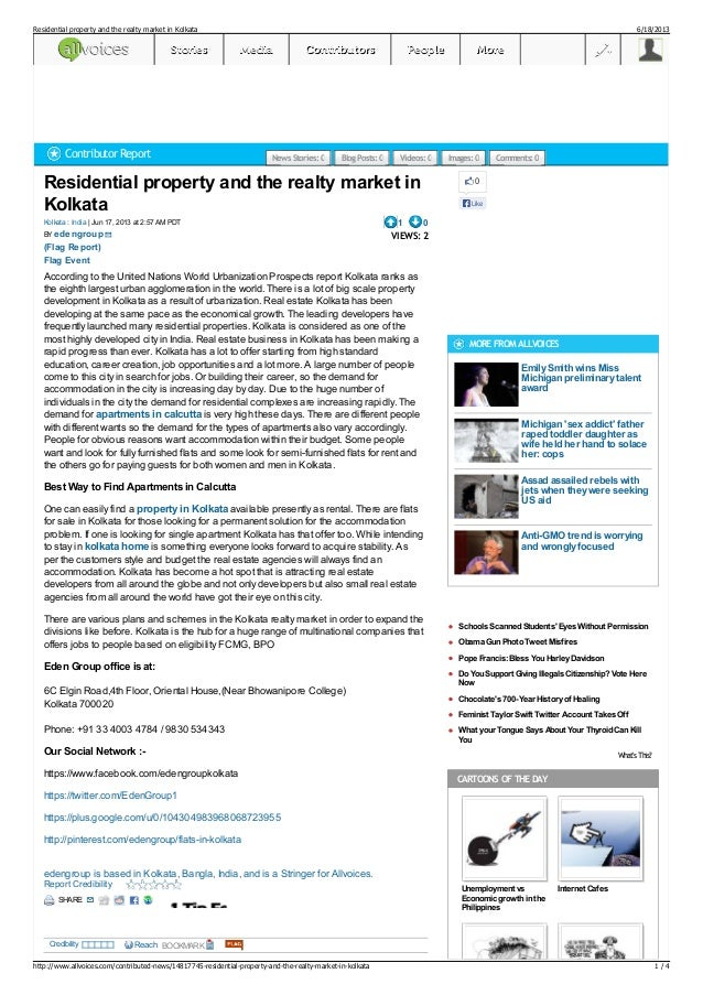 Residential property and the realty market inKolkata| Jun 17, 2013 at 2:57 AM PDTKolkata : IndiaBY1 0VIEWS: 2According to ...