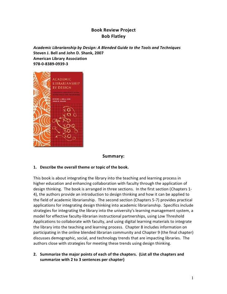 Book Review Project                                     Bob Flatley  Academic Librarianship by Design: A Blended Guide to ...