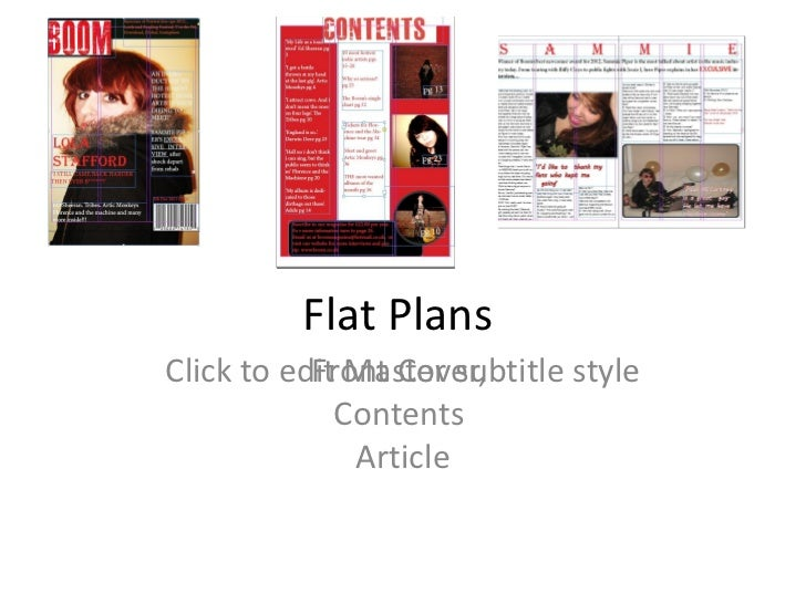 Flat PlansClick to edit Master subtitle style           Front Cover,             Contents              Article