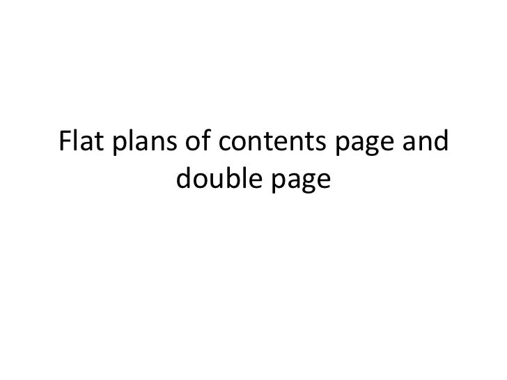 Flat plans of contents page and          double page