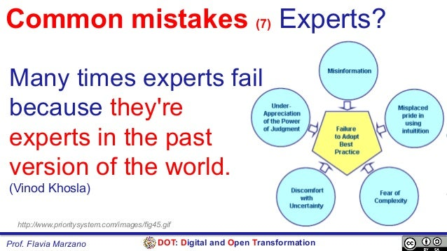 DOT: Digital and Open TransformationProf. Flavia Marzano Common mistakes (7) Experts? Many times experts fail because they...