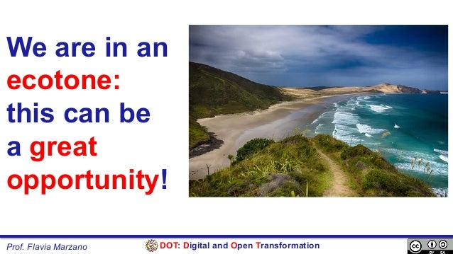 DOT: Digital and Open TransformationProf. Flavia Marzano We are in an ecotone: this can be a great opportunity!