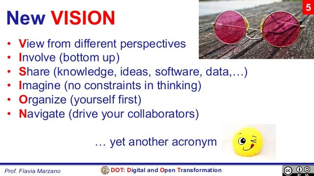 DOT: Digital and Open TransformationProf. Flavia Marzano New VISION • View from different perspectives • Involve (bottom...