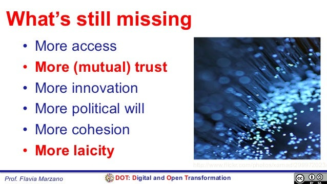 DOT: Digital and Open TransformationProf. Flavia Marzano What's still missing • More access • More (mutual) trust • Mor...