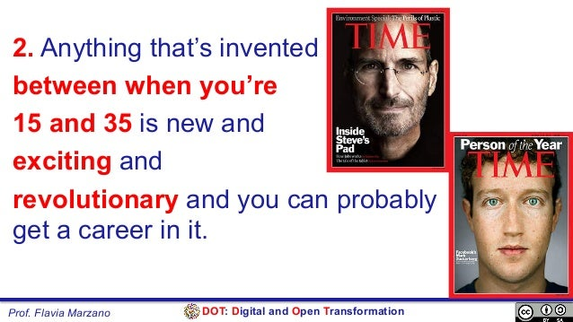 DOT: Digital and Open TransformationProf. Flavia Marzano 2. Anything that's invented between when you're 15 and 35 is new ...