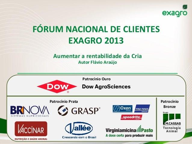 FÓRUM  NACIONAL  DE  CLIENTES   EXAGRO  2013   Aumentar  a  rentabilidade  da  Cria   Autor  Flávi...