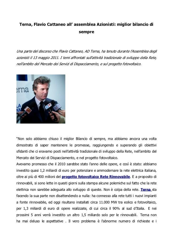Terna, Flavio Cattaneo all' assemblea Azionisti: miglior bilancio di                                           sempreUna p...