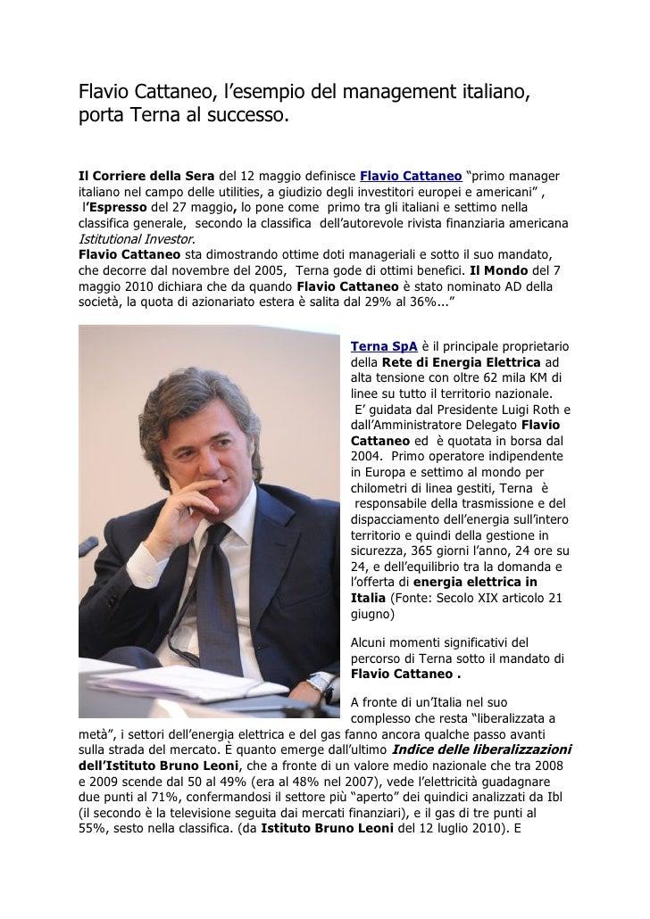 Flavio Cattaneo esempio management italiano