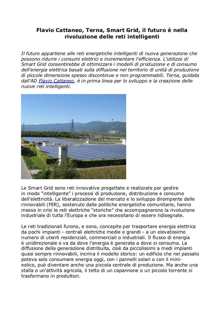 Flavio Cattaneo, Terna, Smart Grid, il futuro è nella                 rivoluzione delle reti intelligentiIl futuro apparti...