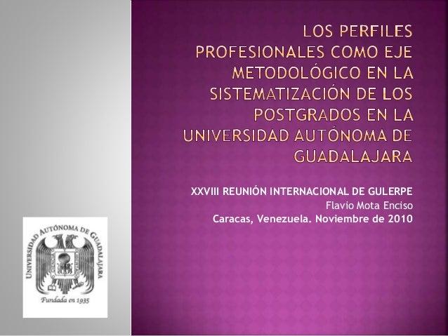 XXVIII REUNIÓN INTERNACIONAL DE GULERPE Flavio Mota Enciso Caracas, Venezuela. Noviembre de 2010