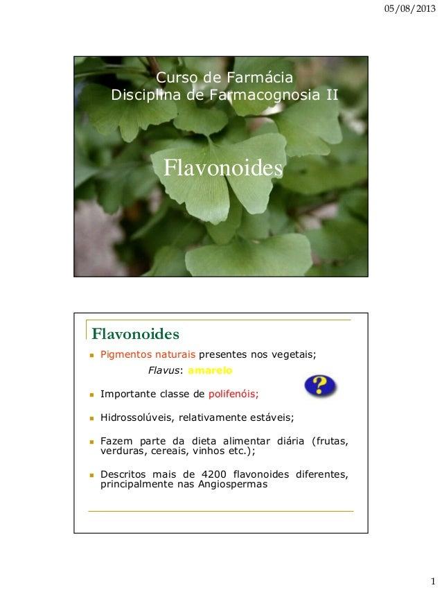 05/08/2013 1 Curso de Farmácia Disciplina de Farmacognosia II Flavonoides Flavonoides  Pigmentos naturais presentes nos v...