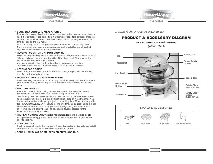 flavorwave oven user guide 6 19 7 • cooking