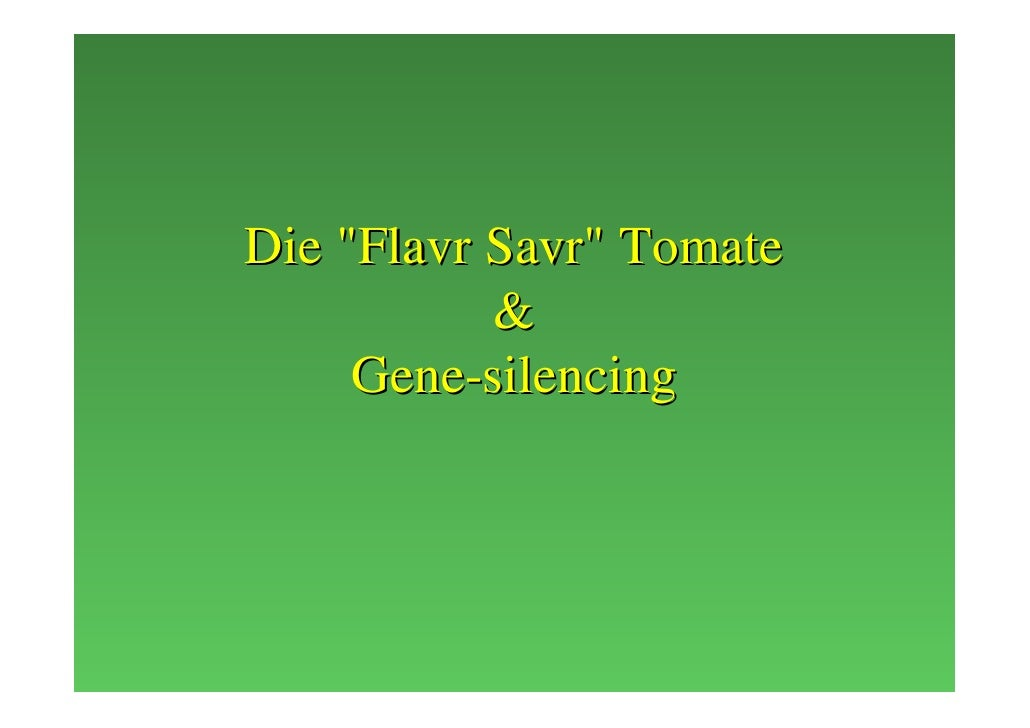 Die quot;Flavr Savrquot; Tomate            &      Gene-silencing