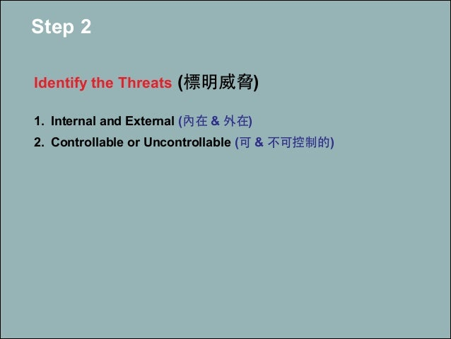 Step 2 ! Identify the Threats (標明威脅) ! 1. Internal and External (內在 & 外在) 2. Controllable or Uncontrollable (可 & 不可控制的)