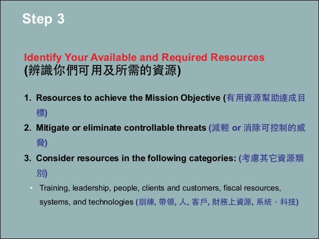 Step 3 ! Identify Your Available and Required Resources (辨識你們可⽤用及所需的資源) ! 1. Resources to achieve the Mission Objective (有...