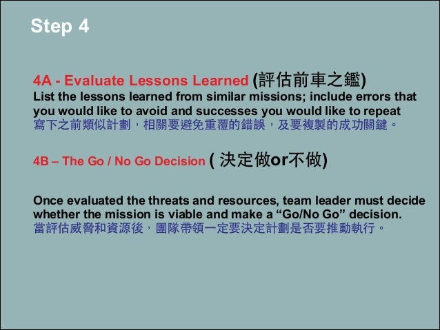 Step 4 ! 4A - Evaluate Lessons Learned (評估前⾞車之鑑) List the lessons learned from similar missions; include errors that you w...