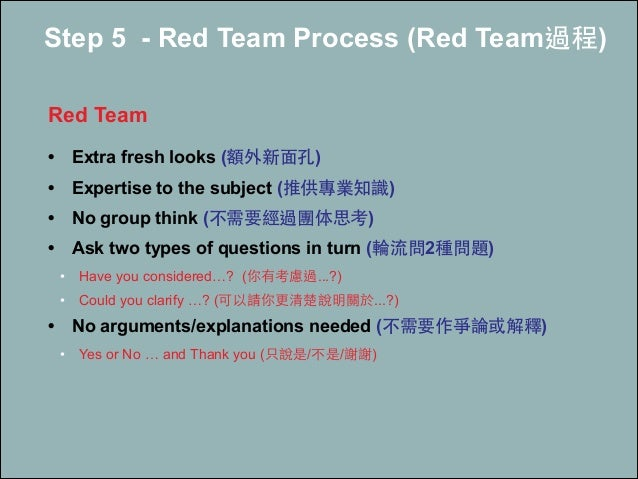 Step 5 - Red Team Process (Red Team過程) ! Red Team ! • Extra fresh looks (額外新⾯面孔) • Expertise to the subject (推供專業知識) • No ...