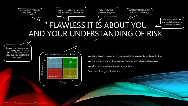""""""" FLAWLESS IT IS ABOUT YOU AND YOUR UNDERSTANDING OF RISK """" Do you know when you are making risk decisions? Do you know th..."""