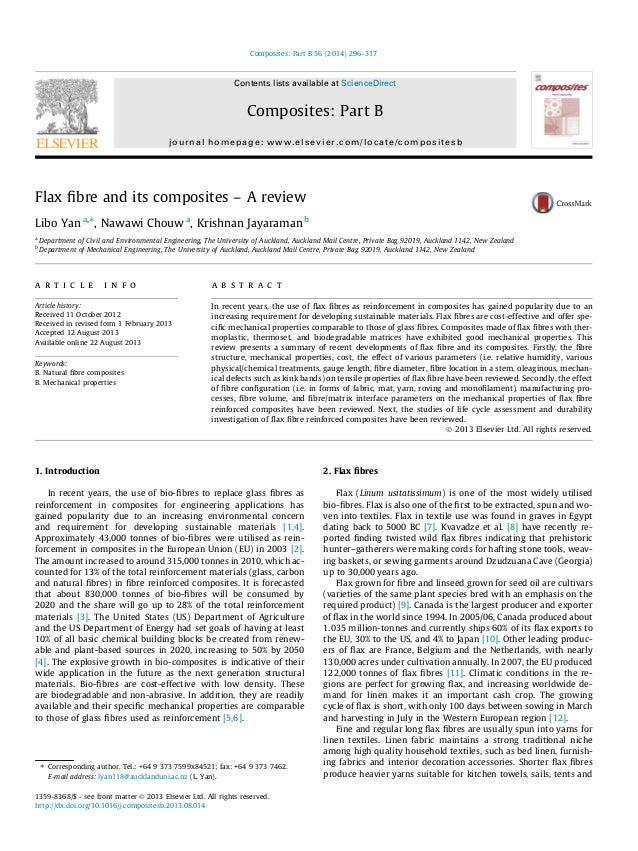 Flax fibre and its composites – A review Libo Yan a,⇑ , Nawawi Chouw a , Krishnan Jayaraman b a Department of Civil and Env...